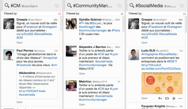 Exemples de recherches sur Tweetdeck sur le métier de Community Manager et sur les réseaux sociaux.